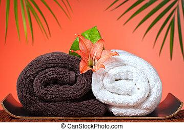 Luxury bath towels background