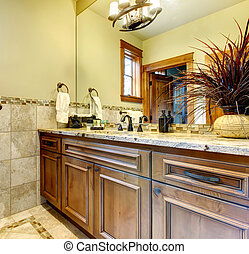 Luxury bathroom cabinets in mountain home.