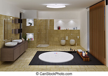 luxury bathroom interior including basins, shower, spa and...