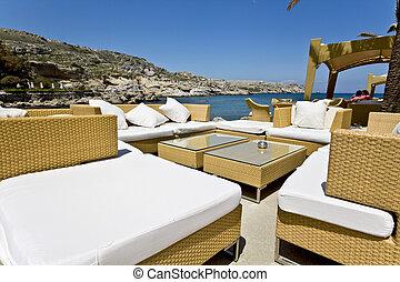 Luxury beach bar at Rhodes island in Greece