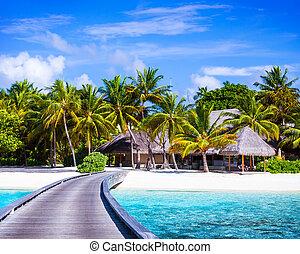 Luxury beach resort, footbridge to the paradise, little...