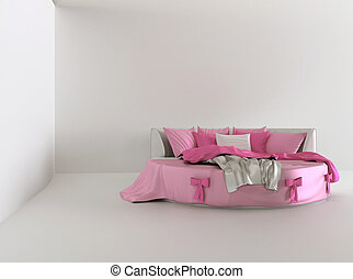 Luxury bed in white bedroom Interior