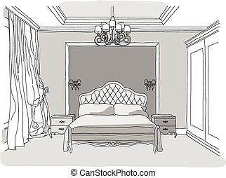 Luxury bedroom interior - Black and white illustration of...