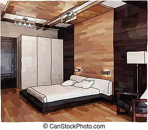 Luxury bedroom interior - Color illustration of bedroom...