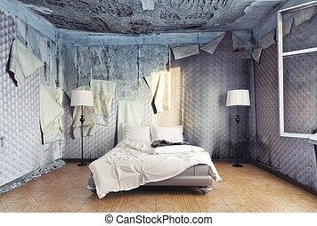 luxury bedroom - luxury bed in abandoned interior