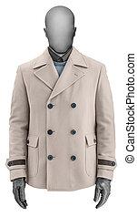 Luxury beige male cashmere jacket isolated on white