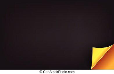 Luxury black background with golden folded corner. Vector illustration for premium retail store.