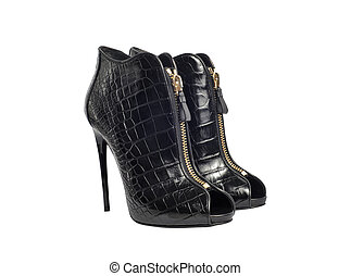 Luxury black female leather heeled shoes with zippers isolated on white background