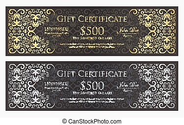 Luxury black gift certificate with gold and silver vintage ornament pattern