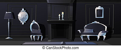 cartoon luxury living room in black colours with fireplace. Rich ballroom or hallway with silver moldings, sofa and carpet. Expensive interior with furniture in baroque or rococo style.