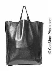 luxury black leather female bag isolated on white