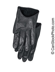 Luxury black leather gloves isolated on white background