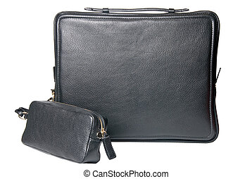 luxury black leather male bag for notebook isolated on white