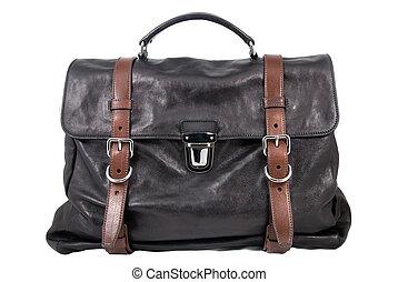 luxury black leather male travel bag isolated on white