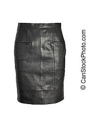 luxury black leather skirt isolated on white background