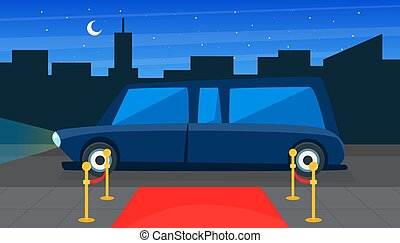 Luxury Black Limousine Car and Red Empty Event Carpet on Background of City Landscape Vector Illustration