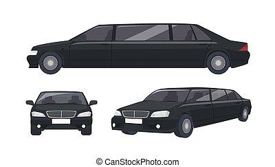 Luxury black limousine isolated on white background. Elegant...