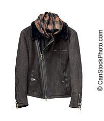 Luxury black male leather jacket isolated on white