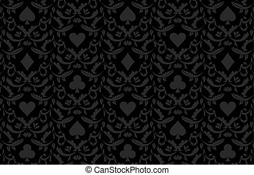 Exclusive black poker background with card symbols