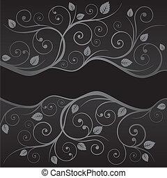 Luxury black silver swirls borders