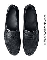 Luxury black suede loafers isolated om white background