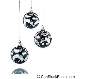 Luxury black with silver Christmas ball, hanging Decoration