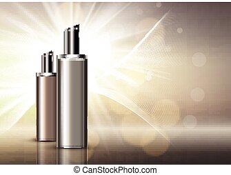 Luxury blank cosmetic bottles background