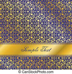 Luxury blue design. Seamless wallpaper pattern.