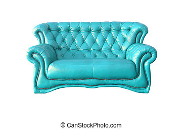 luxury blue leather armchair isolated on white background