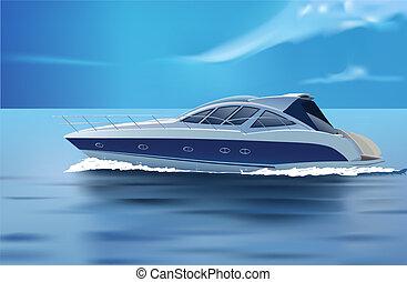 luxury boat - vector luxury boat in motion