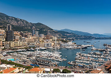 Luxury boats in the harbour at Monaco