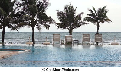 luxury., bord mer, piscine, natation