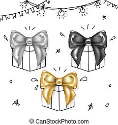 Luxury Bows Set- Black, Silver and Gold Knots.