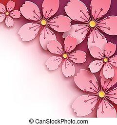 Luxury bright background with sakura flowers