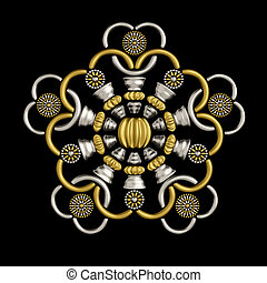 Luxury brooch design made from metallic seed beads isolated on black background. Beautiful jewelry ornament conceptual design