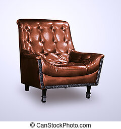 Luxury brown leather chair isolated on white background include clipping path.