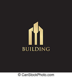 Luxury building logo design with gold color
