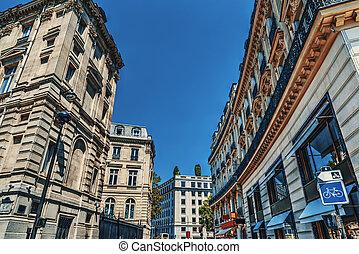 Luxury buildings on Champs Elysees in Paris