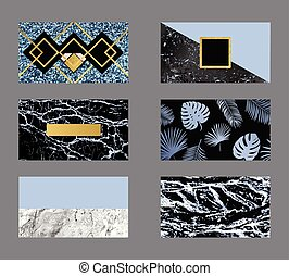 Luxury business blue card with marble texture and geometric line and golden background vector template.
