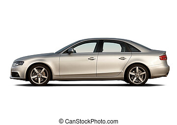 Compact luxury business sedan isolated on white