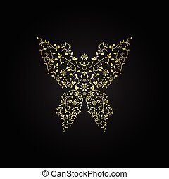 Luxury butterfly sign. Ornamental gold design.