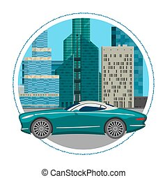 Luxury car for people who love high speed. Newly-formulated vehicles in the concept of agility. Vector illustration design of luxury car on cityscape background with skyscrapers.