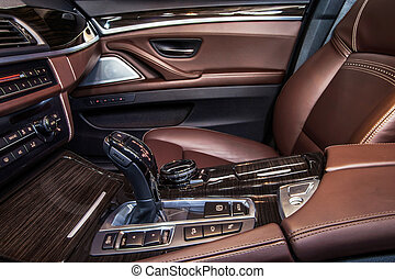 Luxury car interior details. Skin and chromium.