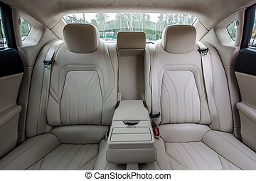 Luxury car interior - Ivory color luxury town car passengers...