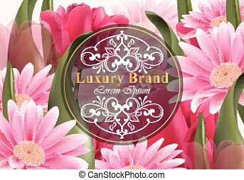 Luxury card with daisy flowers Vector. Beautiful illustration for brand book, business card or poster. Growing flowers background. Place for texts