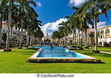 Luxury caribbean hotel resort, mexico