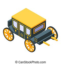 Luxury carriage icon, isometric style