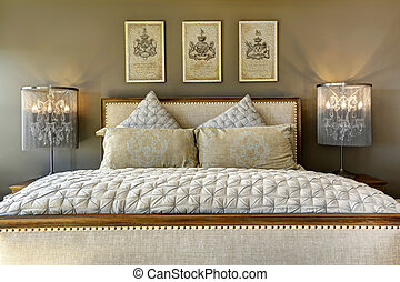Luxury carved wood bed with pillows - Luxury bedroom...