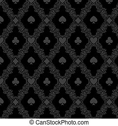 Luxury casino gambling poker background pattern with card...