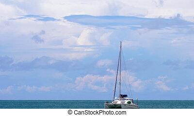 Luxury catamaran anchored - Catamaran near Nai Harn Beach,...